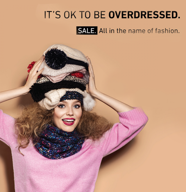 SALE. It's ok to be overdressed!